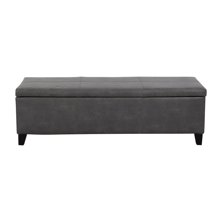 Grey Upholstered Storage Bench