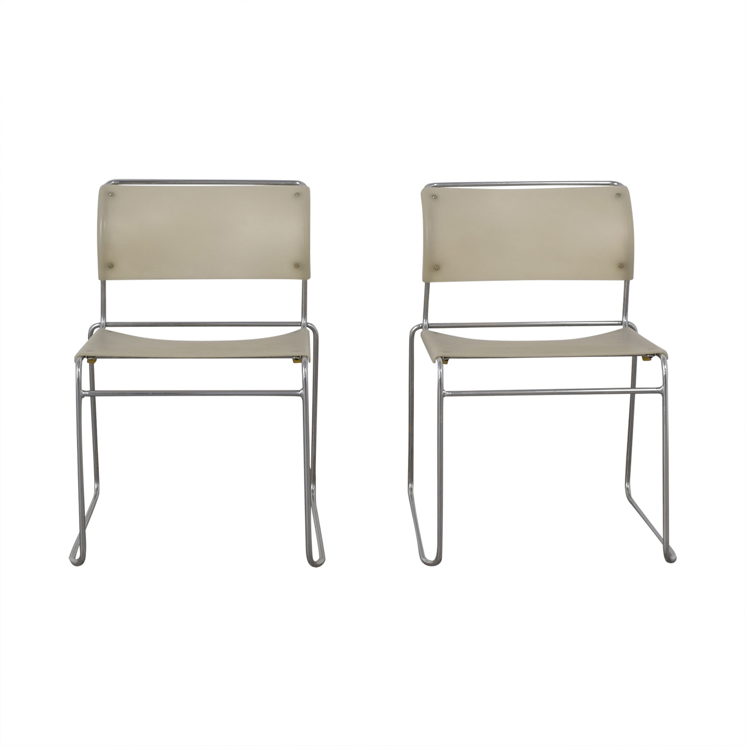 Harter White Sled Base Chairs dimensions