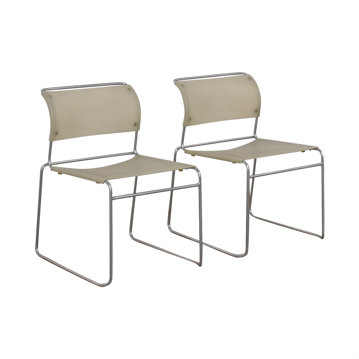 Harter White Sled Base Chairs