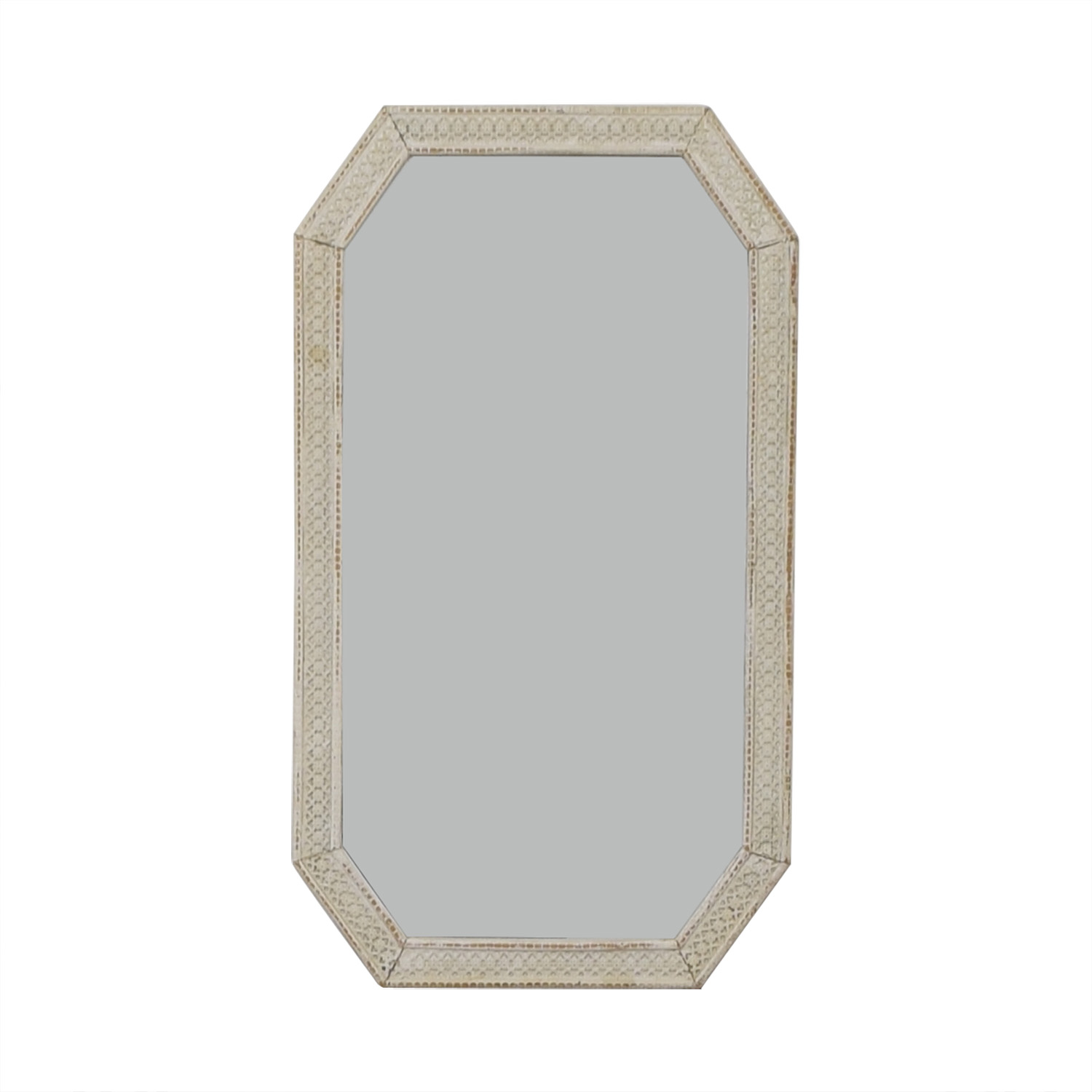 Distressed White Indian Lattice Wall Mirror on sale