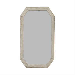 Distressed White Indian Lattice Wall Mirror discount