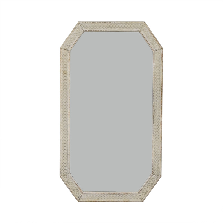 Distressed White Indian Lattice Wall Mirror nj