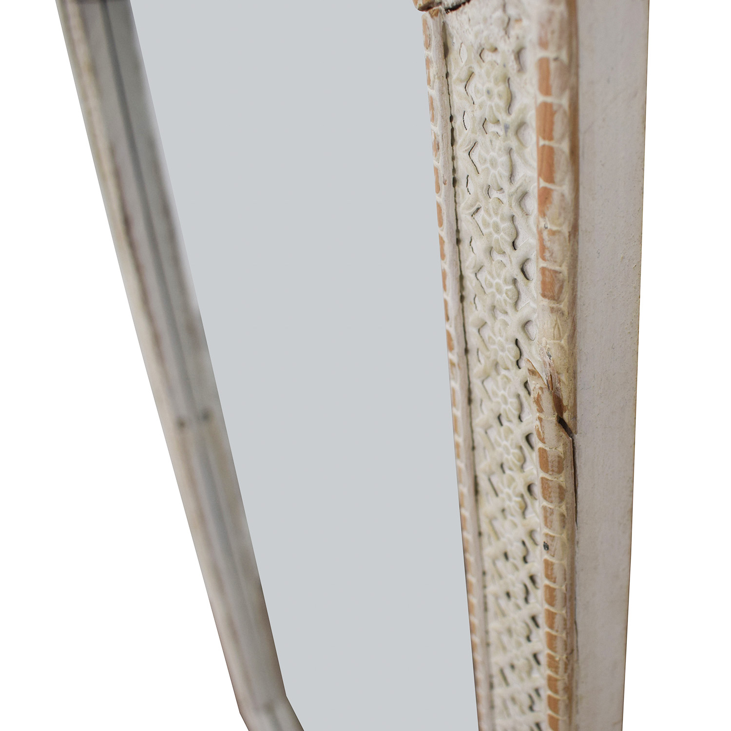 Distressed White Indian Lattice Wall Mirror / Mirrors