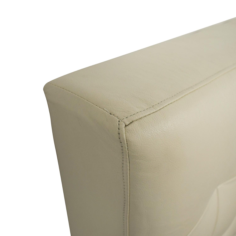 West Elm West Elm Low Leather Grid-Tufted Headboard beige