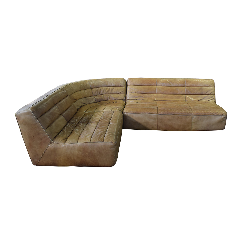 buy ABC Carpet & Home Brown Three-Piece Sectional ABC Carpet & Home Sofas