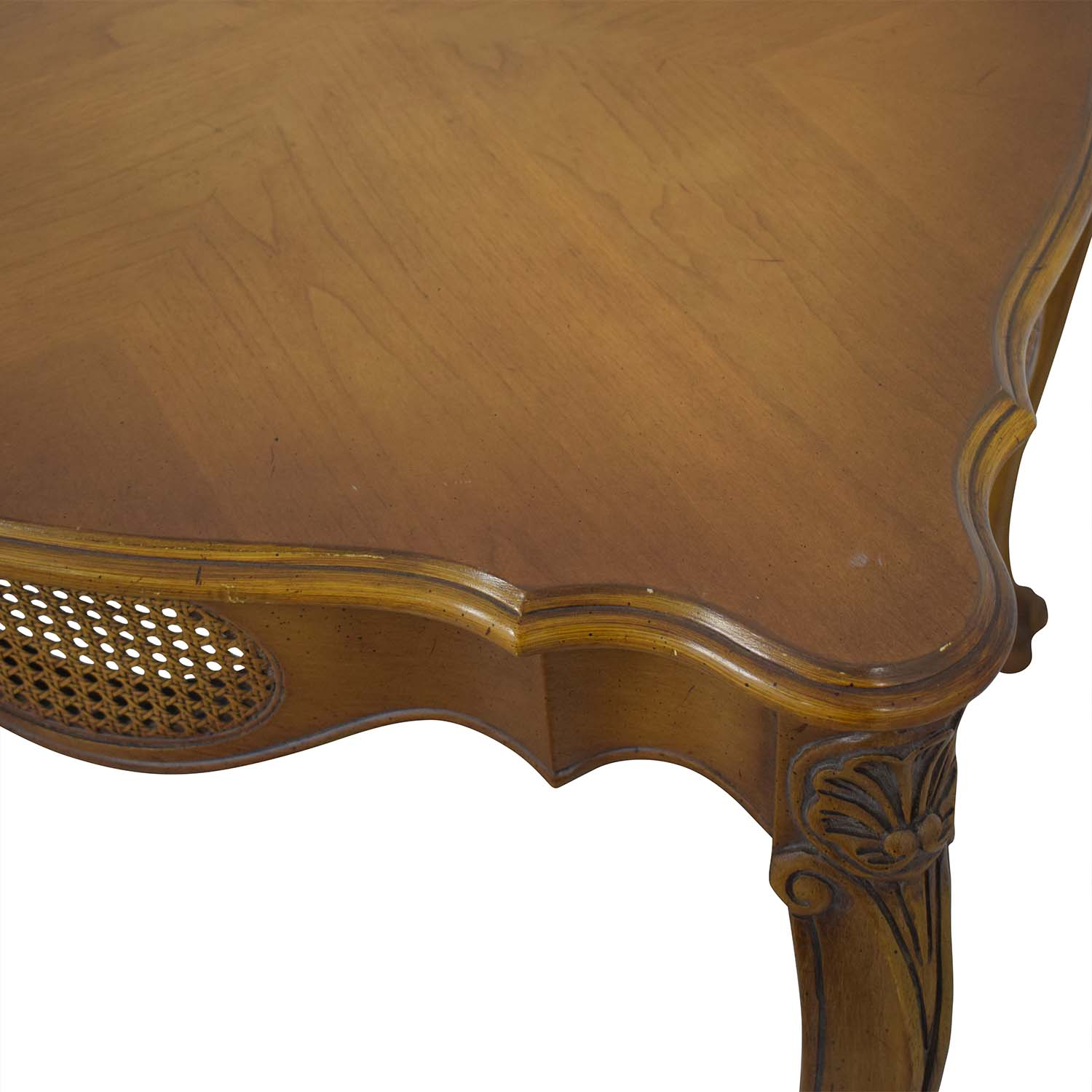 French Provincial Cane Weave Accent Table / Tables