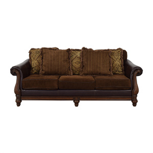 buy  Brown Two-Fabric Three-Cushion Sofa with Pillows online