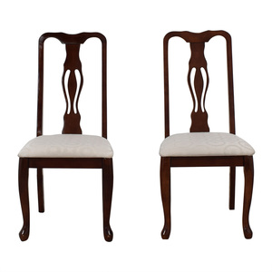 buy  Carved Wood White Upholstered Dining Chairs online