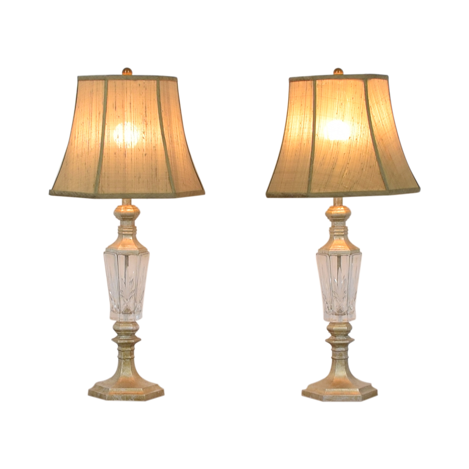 Distressed and Glass Accent Table Lamps second hand