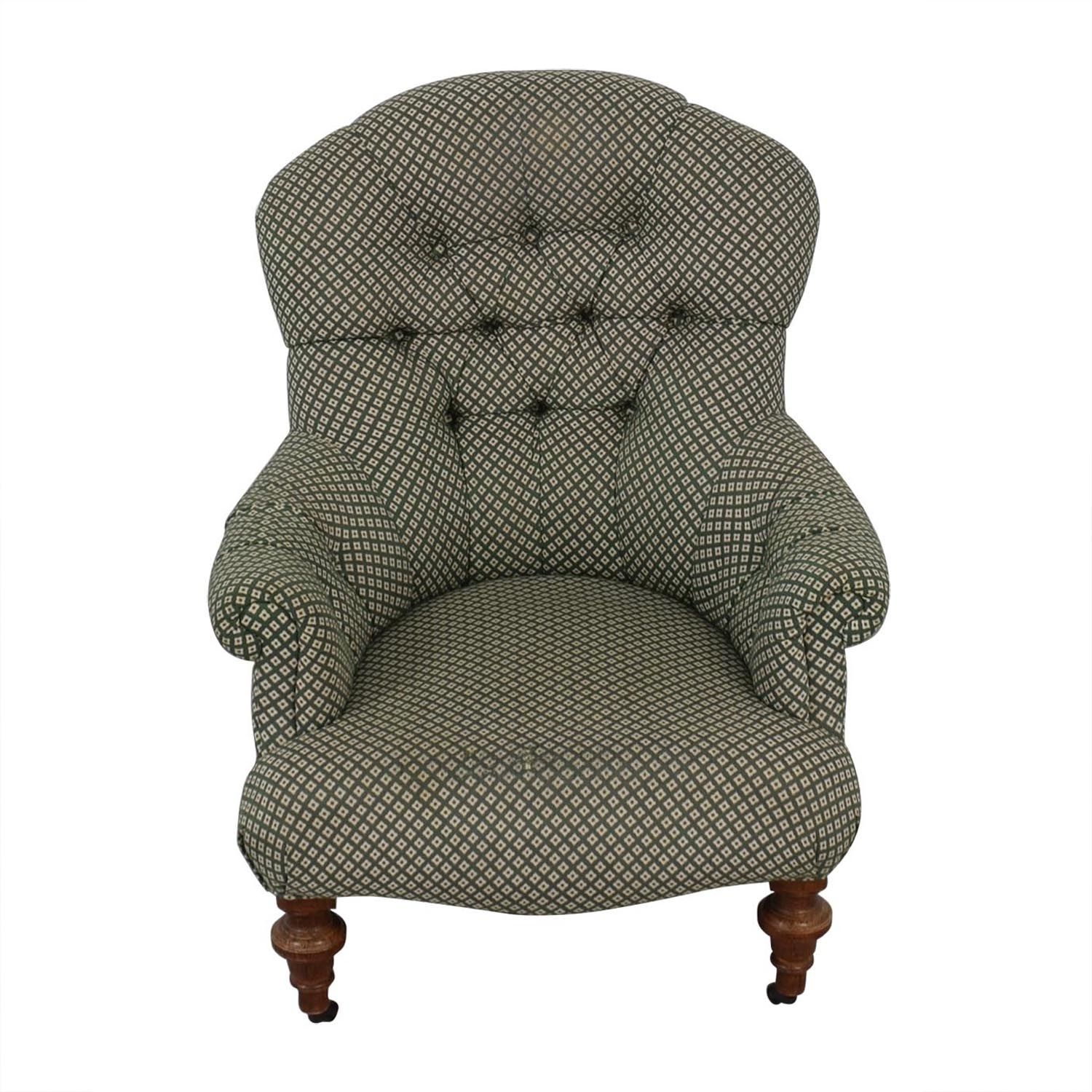 Phenomenal 70 Off Green And White Tufted High Back Armchair Chairs Bralicious Painted Fabric Chair Ideas Braliciousco