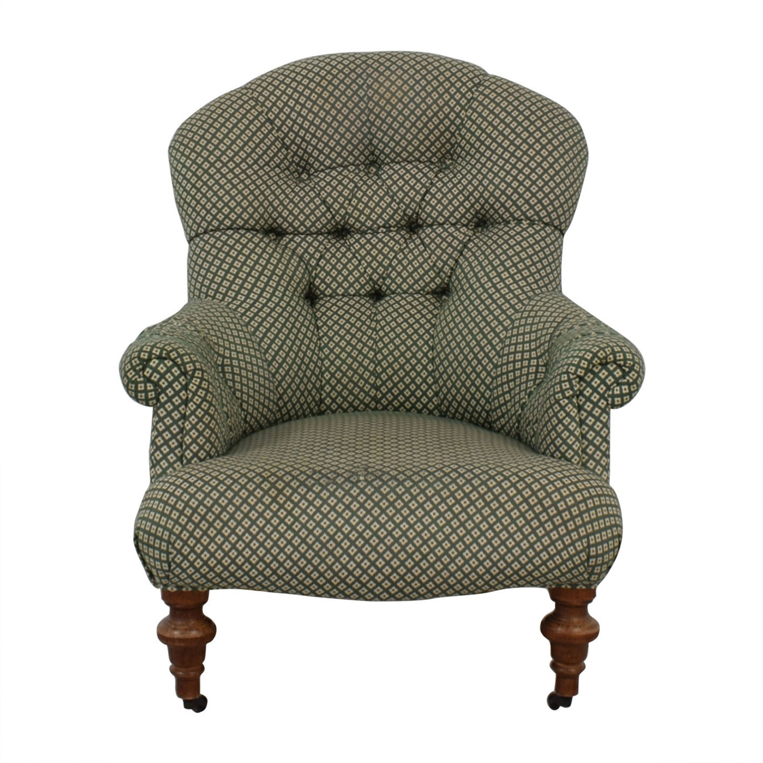 70 Off Green And White Tufted High Back Armchair Chairs
