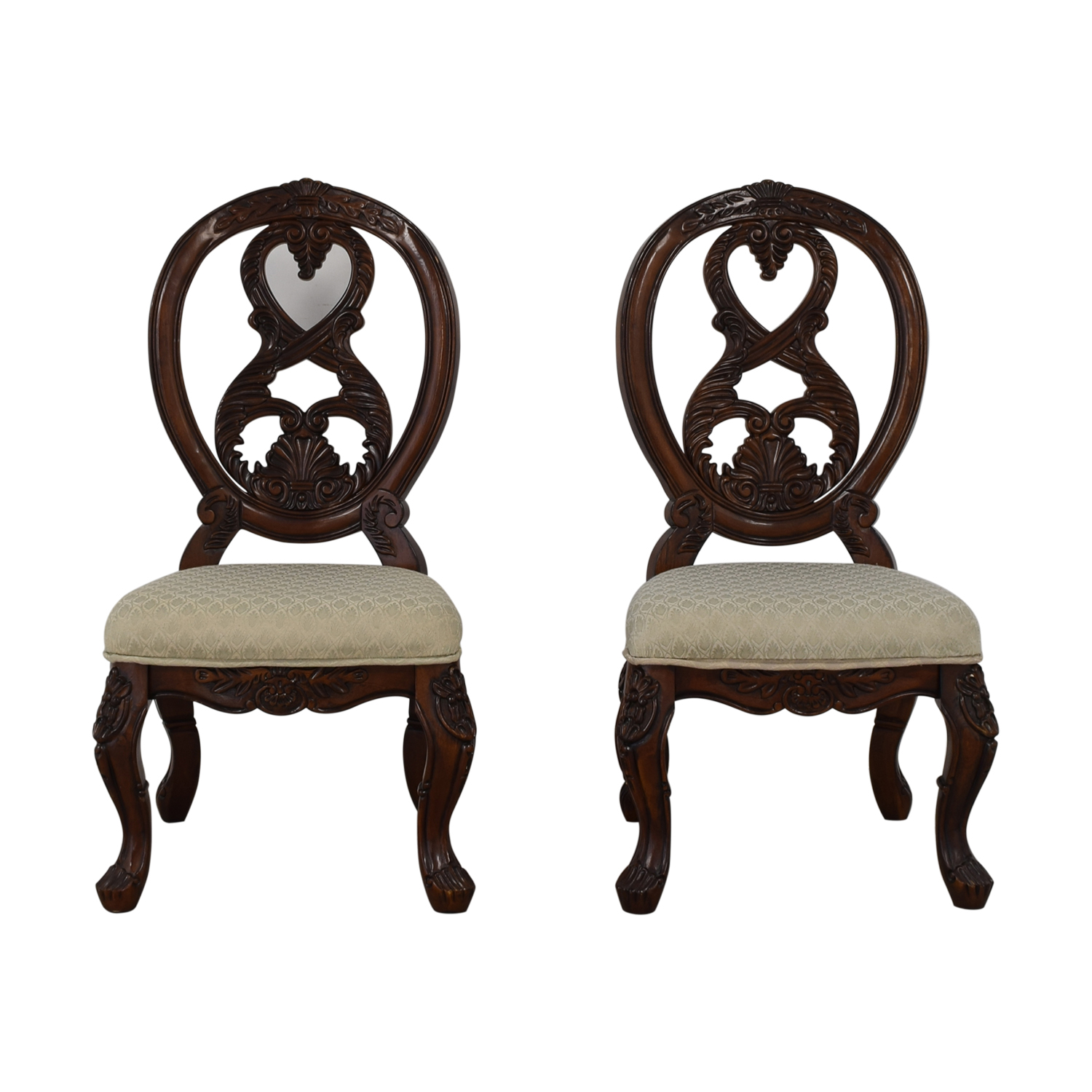 Carved Wood Beige Upholstered Dining Chairs