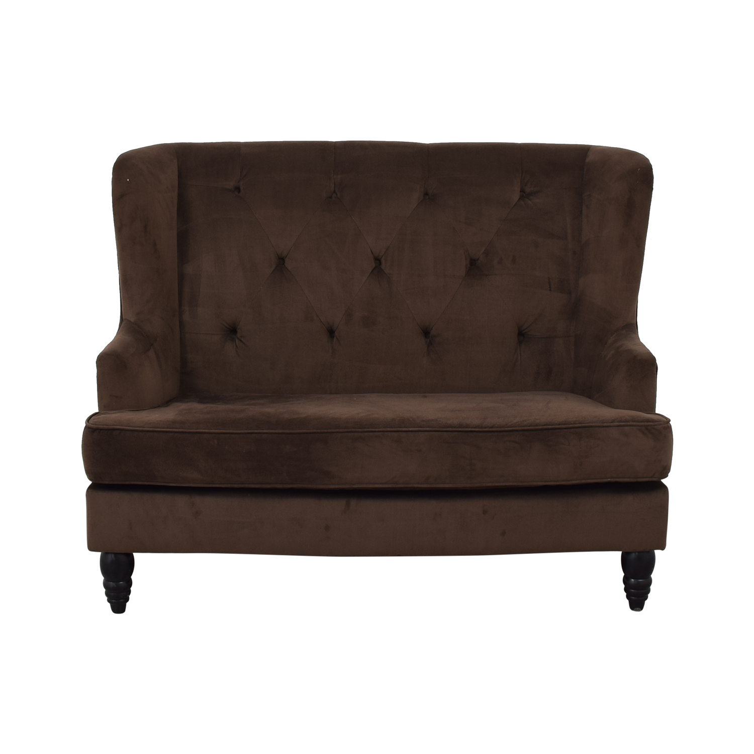 Brown Tufted High Back Loveseat used