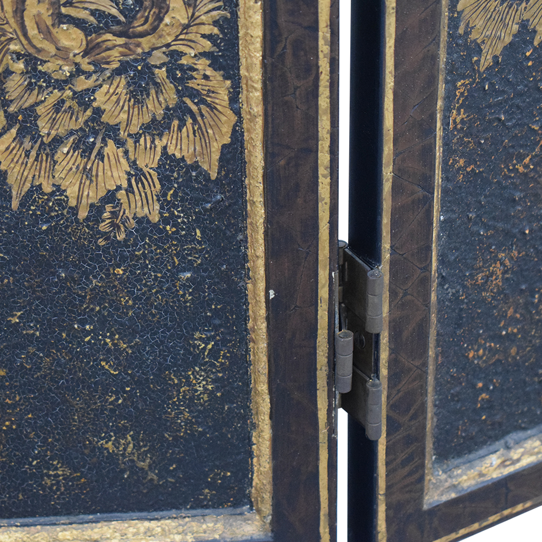 Distressed Gold Three-Panel Screen
