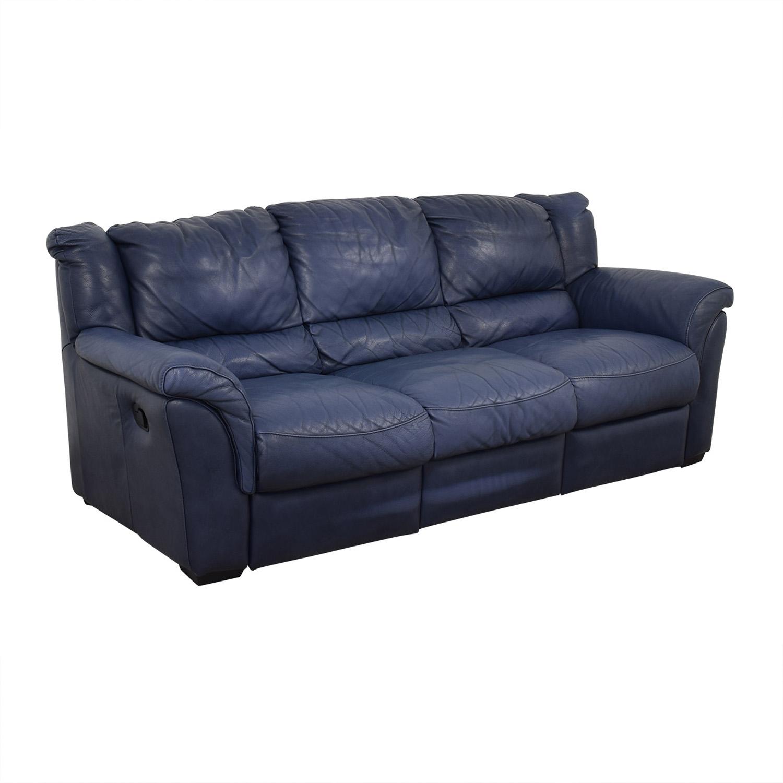 Chateau D'Ax Blue Three-Cushion Reclining Couch / Sofas