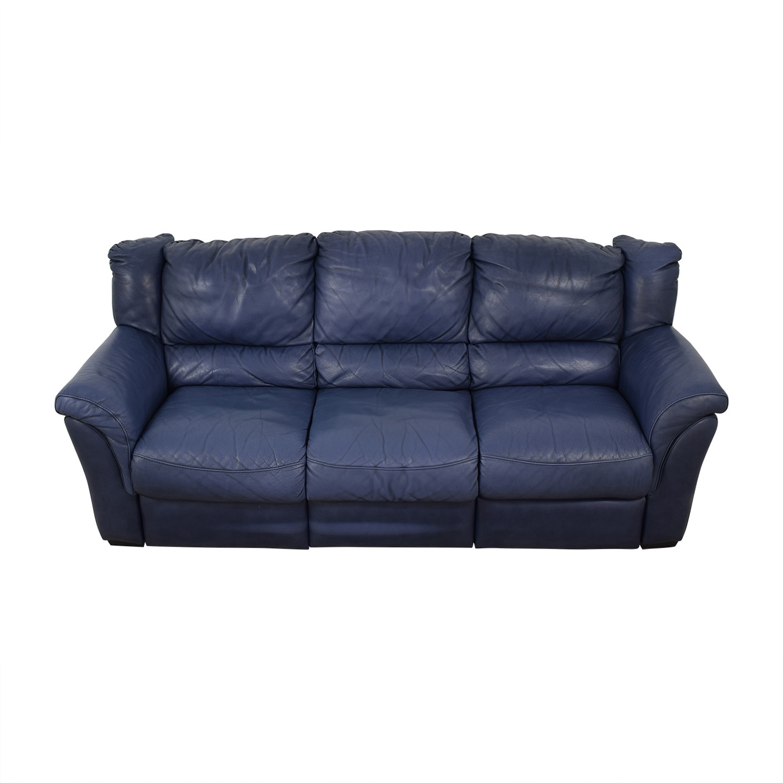 Chateau d'Ax Chateau D'Ax Blue Three-Cushion Reclining Couch Classic Sofas