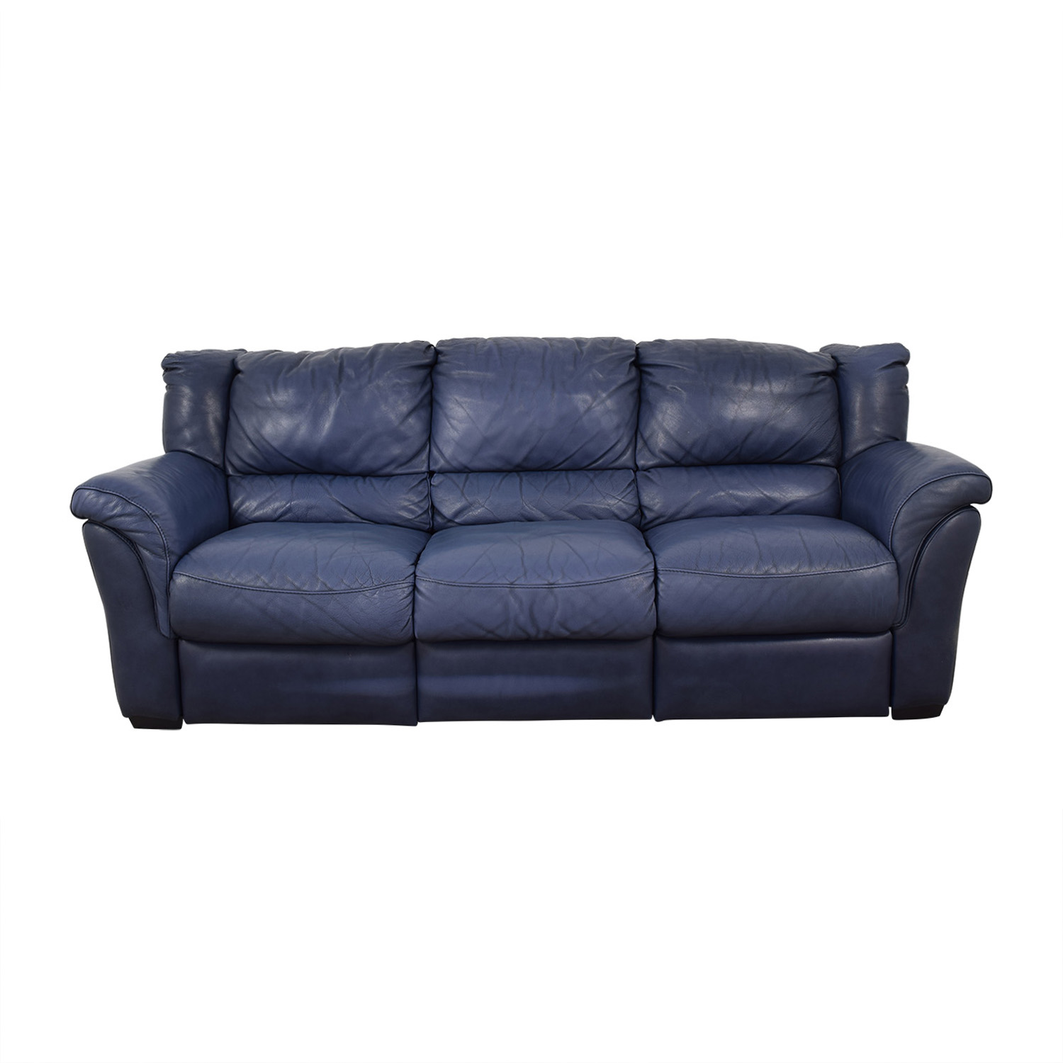 Chateau d'Ax Chateau D'Ax Blue Three-Cushion Reclining Couch Classic Sofas