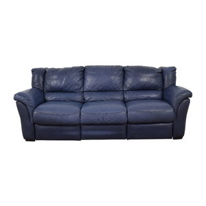 Chateau d'Ax Chateau D'Ax Blue Three-Cushion Reclining Couch on sale