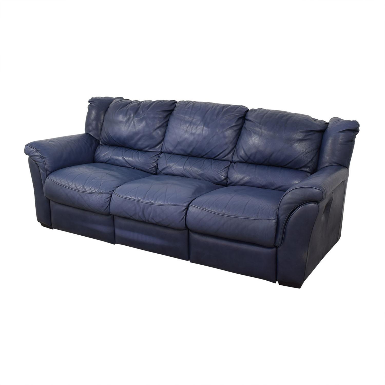 Chateau d'Ax Chateau D'Ax Blue Three-Cushion Reclining Couch coupon