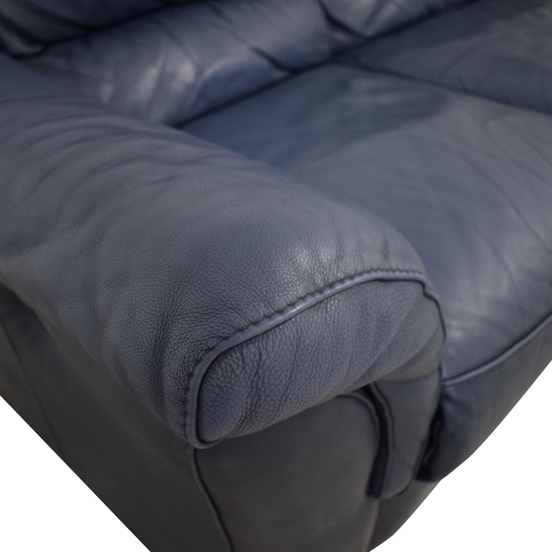 Chateau d'Ax Chateau D'Ax Blue Three-Cushion Reclining Couch