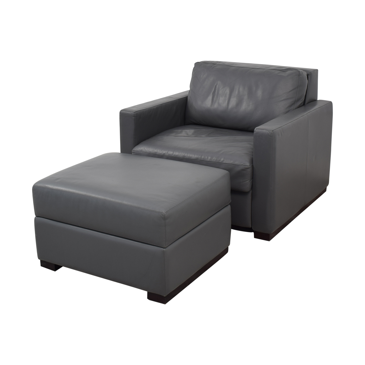 Design Within Reach Grey Accent Chair and Ottoman / Chairs