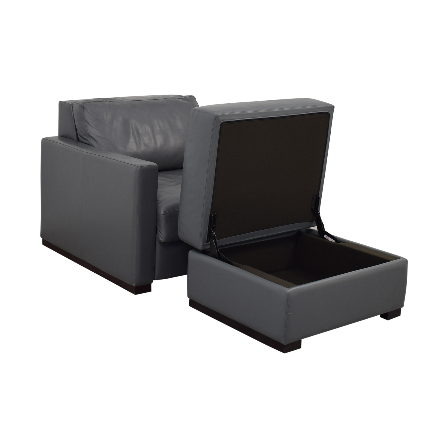 Design Within Reach Design Within Reach Grey Accent Chair and Ottoman