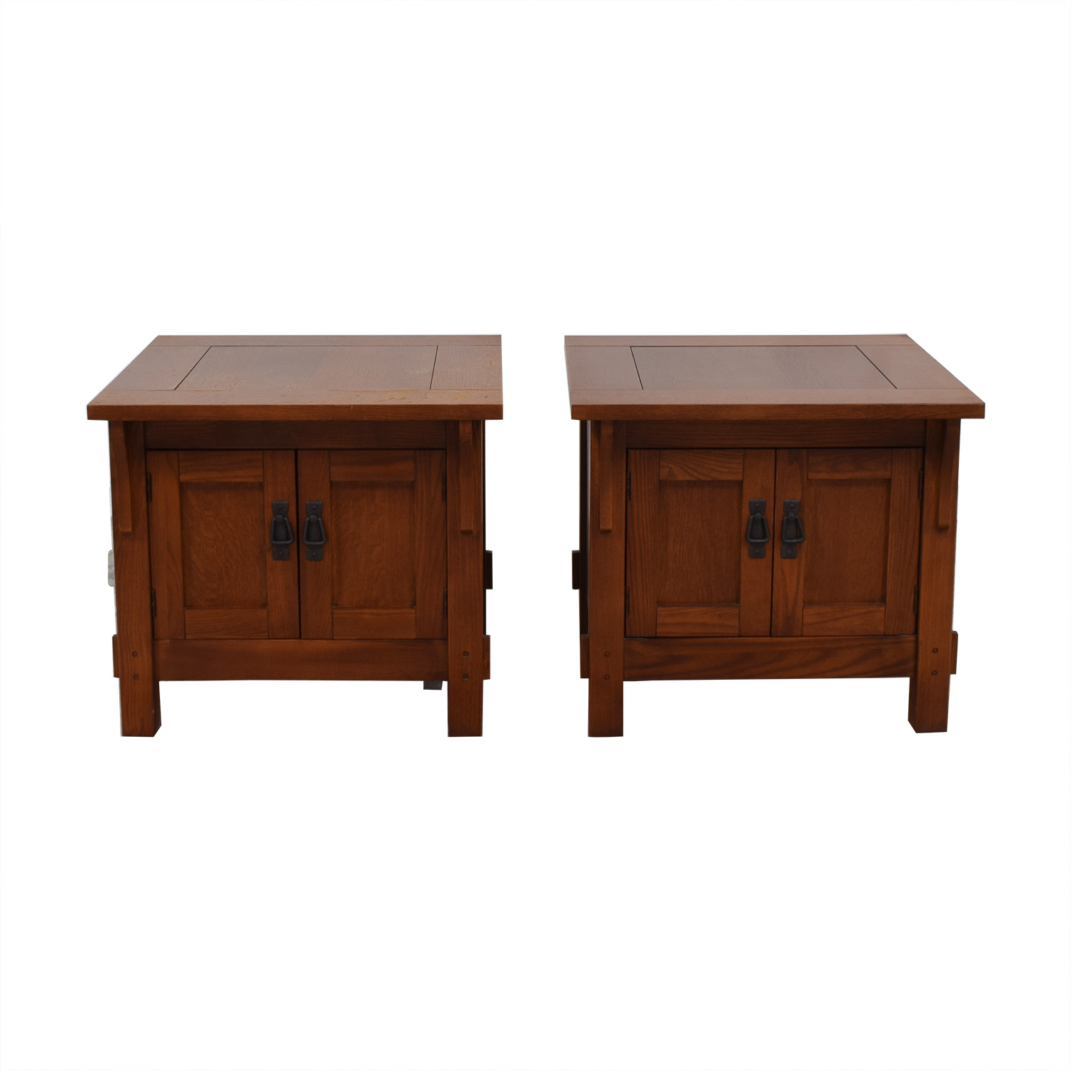 Wood Storage End Tables used