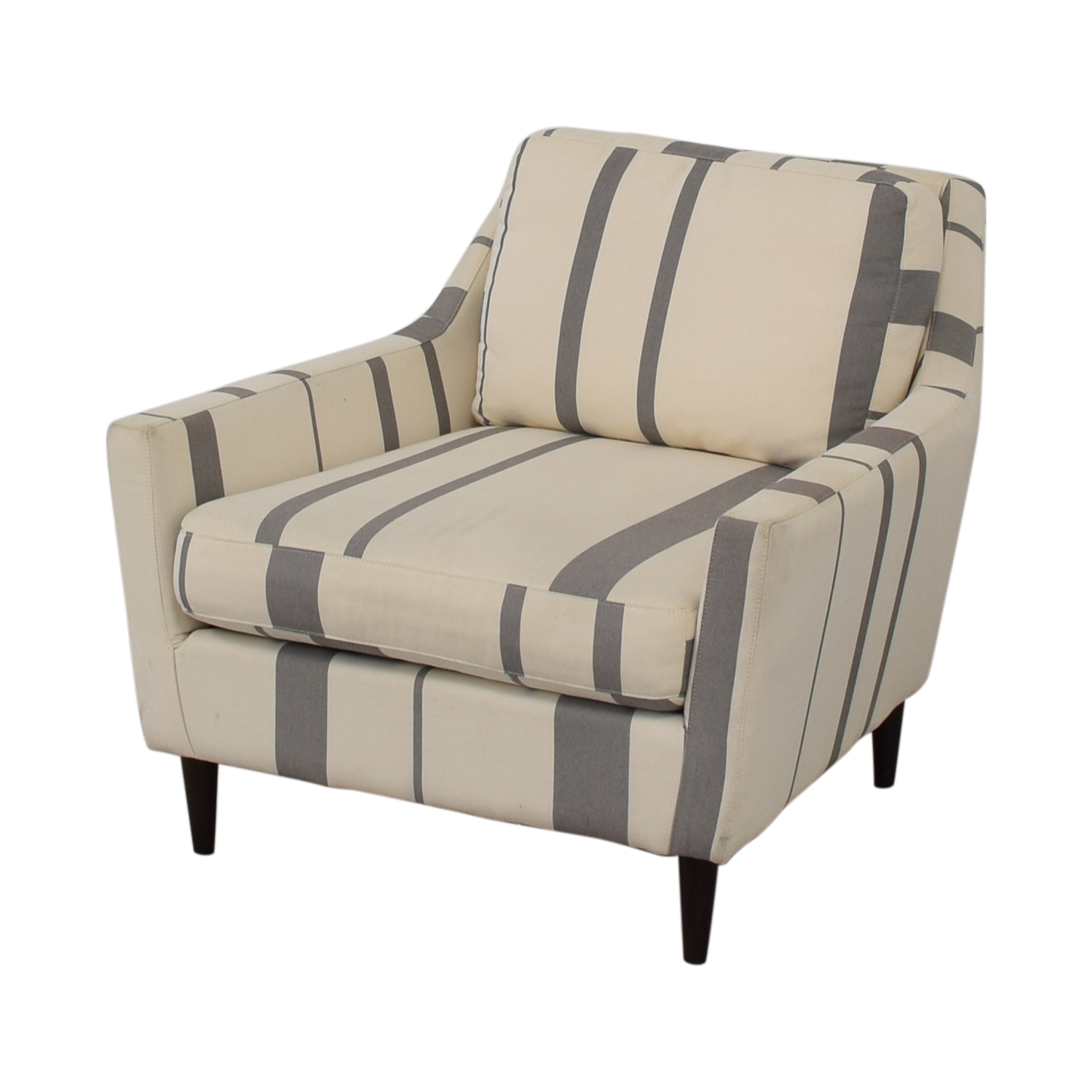 West Elm West Elm Everett Grey and White Striped Accent Chair Accent Chairs
