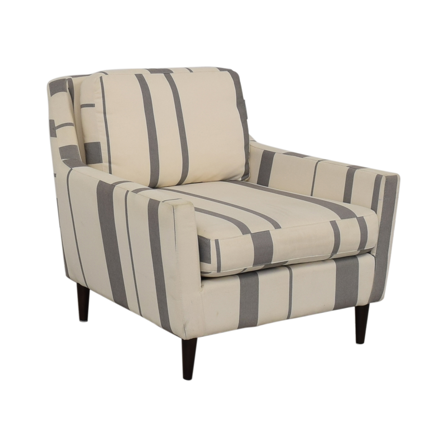 West Elm West Elm Everett Grey and White Striped Accent Chair nyc