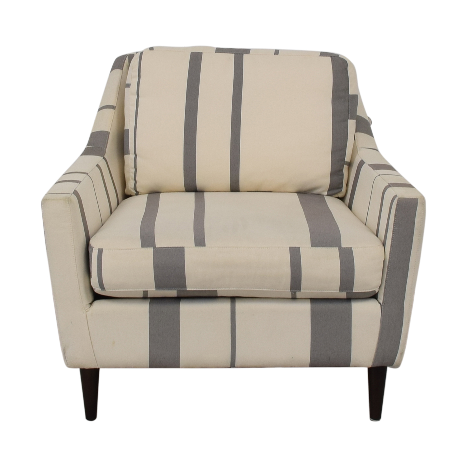 West Elm Everett Grey and White Striped Accent Chair sale