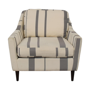 shop West Elm Everett Grey and White Striped Accent Chair West Elm Chairs