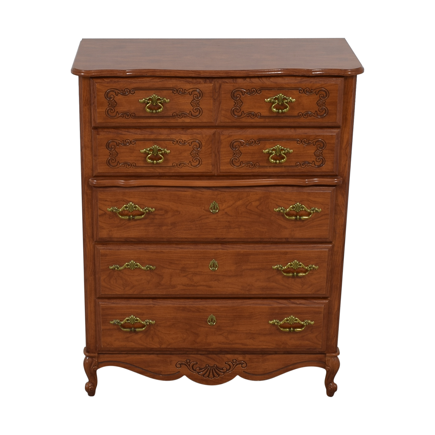 Wood Five-Drawer Tall Chest of Drawers nj