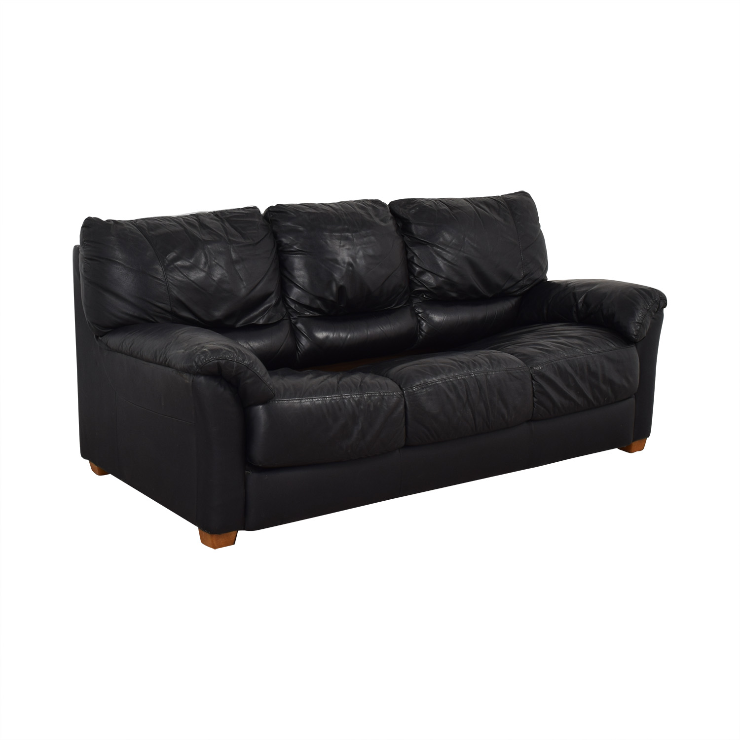 90% OFF - Black Three-Cushion Convertible Full Sleeper Sofa / Sofas