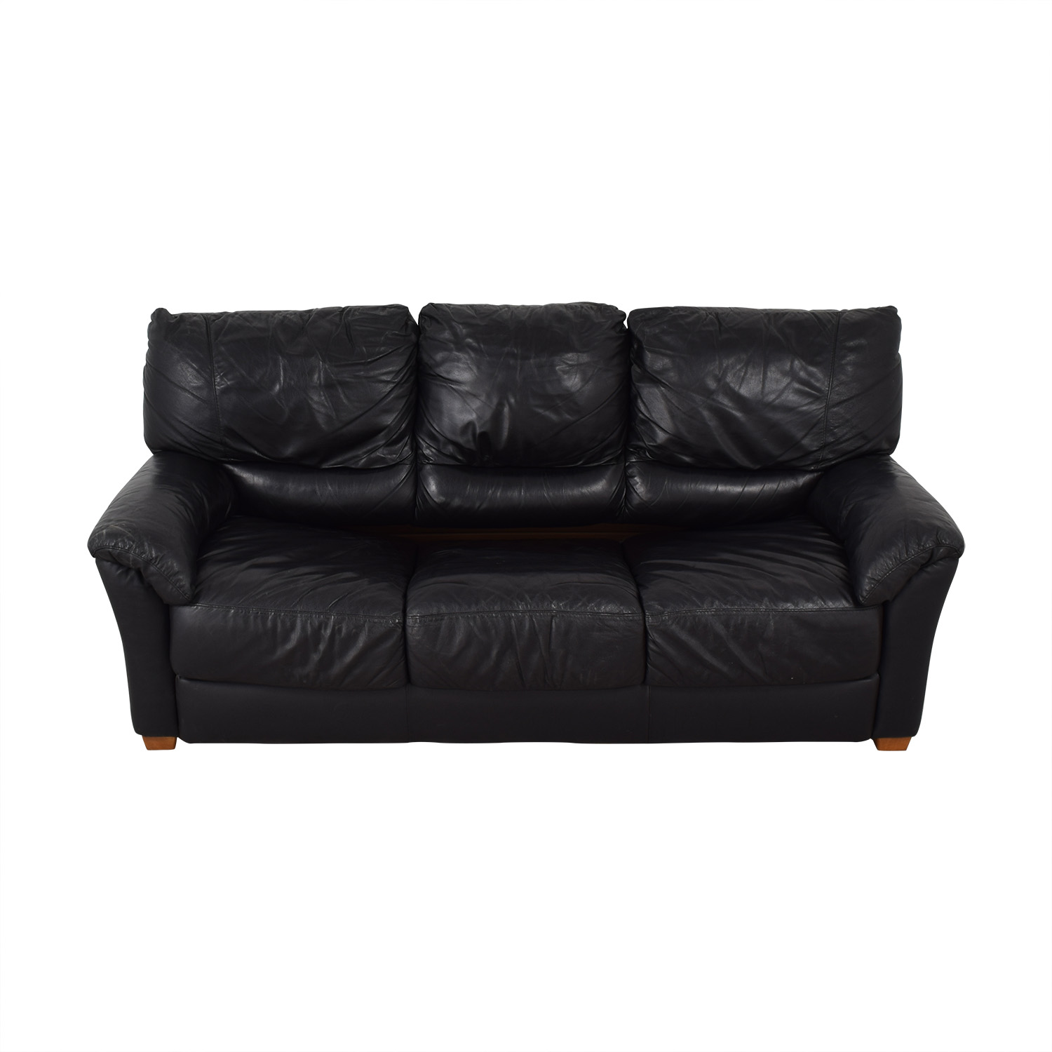 Black Three-Cushion Convertible Full Sleeper Sofa Classic Sofas