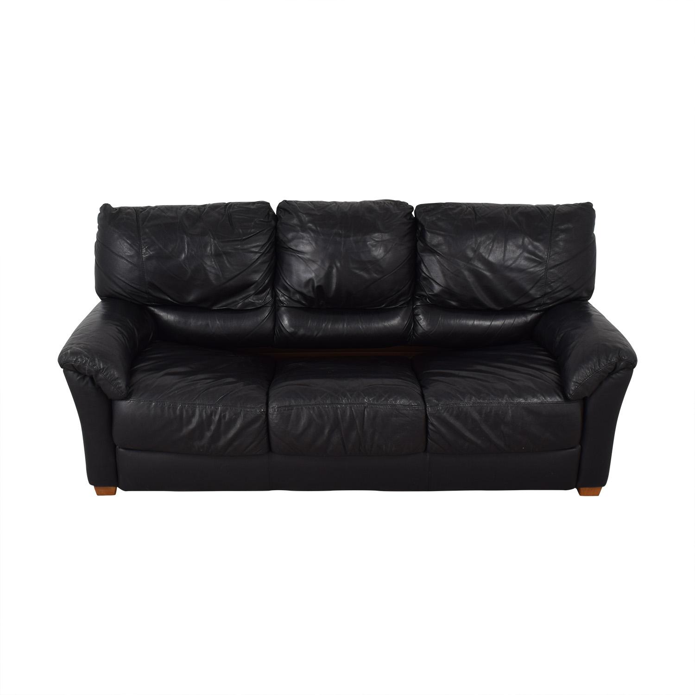 Black Three-Cushion Convertible Full Sleeper Sofa Classic Sofas