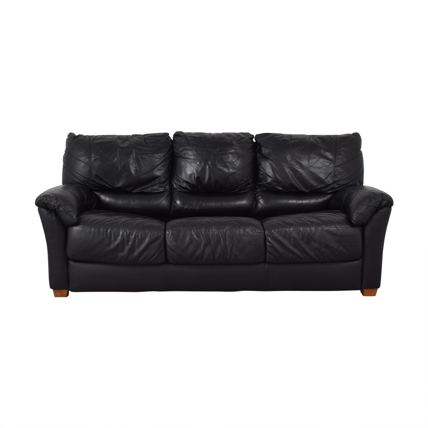 Black Three-Cushion Convertible Full Sleeper Sofa / Sofas