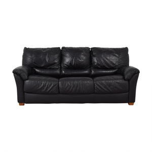 Black Three-Cushion Convertible Full Sleeper Sofa on sale