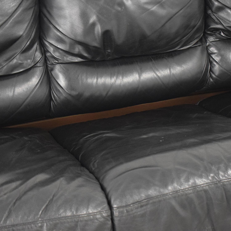 Black Three-Cushion Convertible Full Sleeper Sofa used