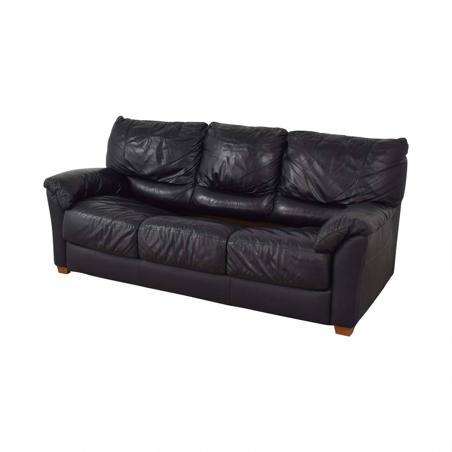Black Three-Cushion Convertible Full Sleeper Sofa second hand