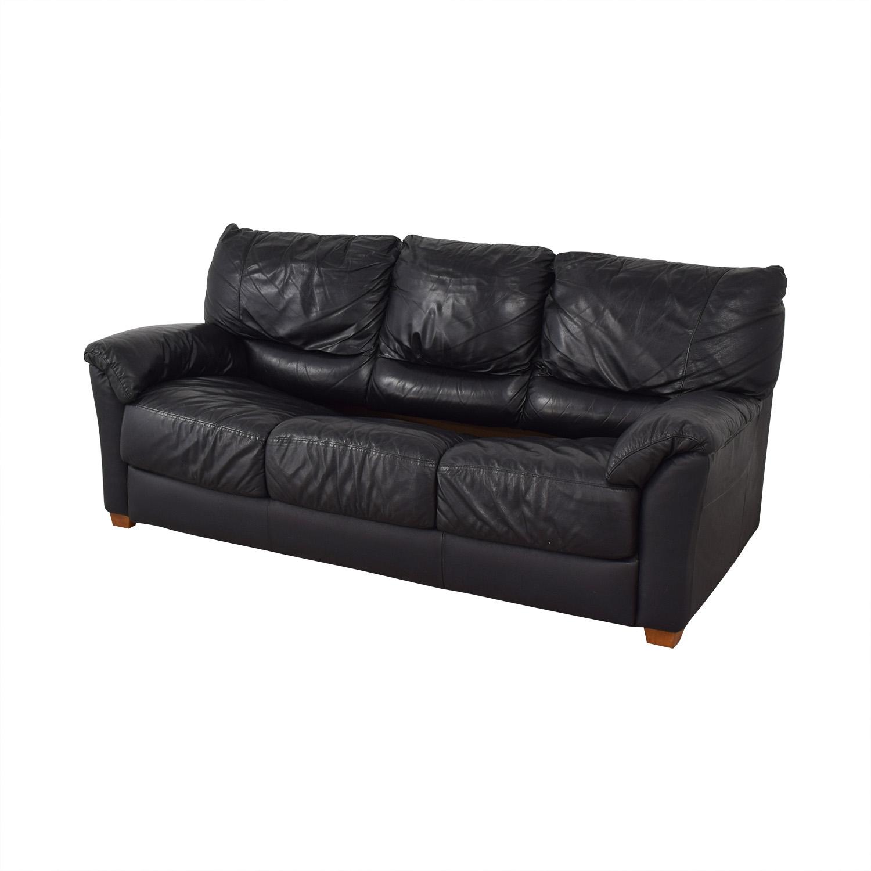 Black Three-Cushion Convertible Full Sleeper Sofa second hand