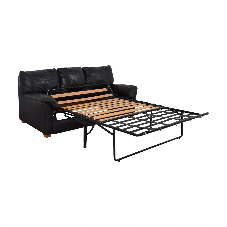 Black Three-Cushion Convertible Full Sleeper Sofa dimensions
