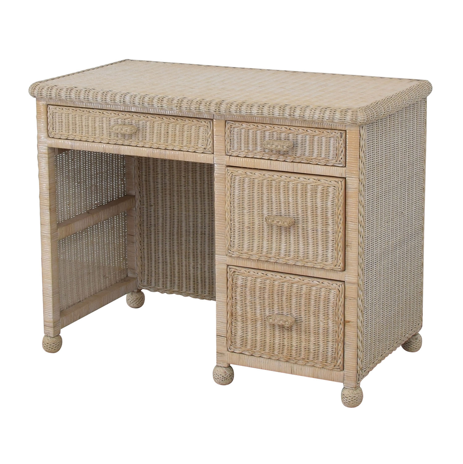 shop  White Four-Drawer Wicker Desk online