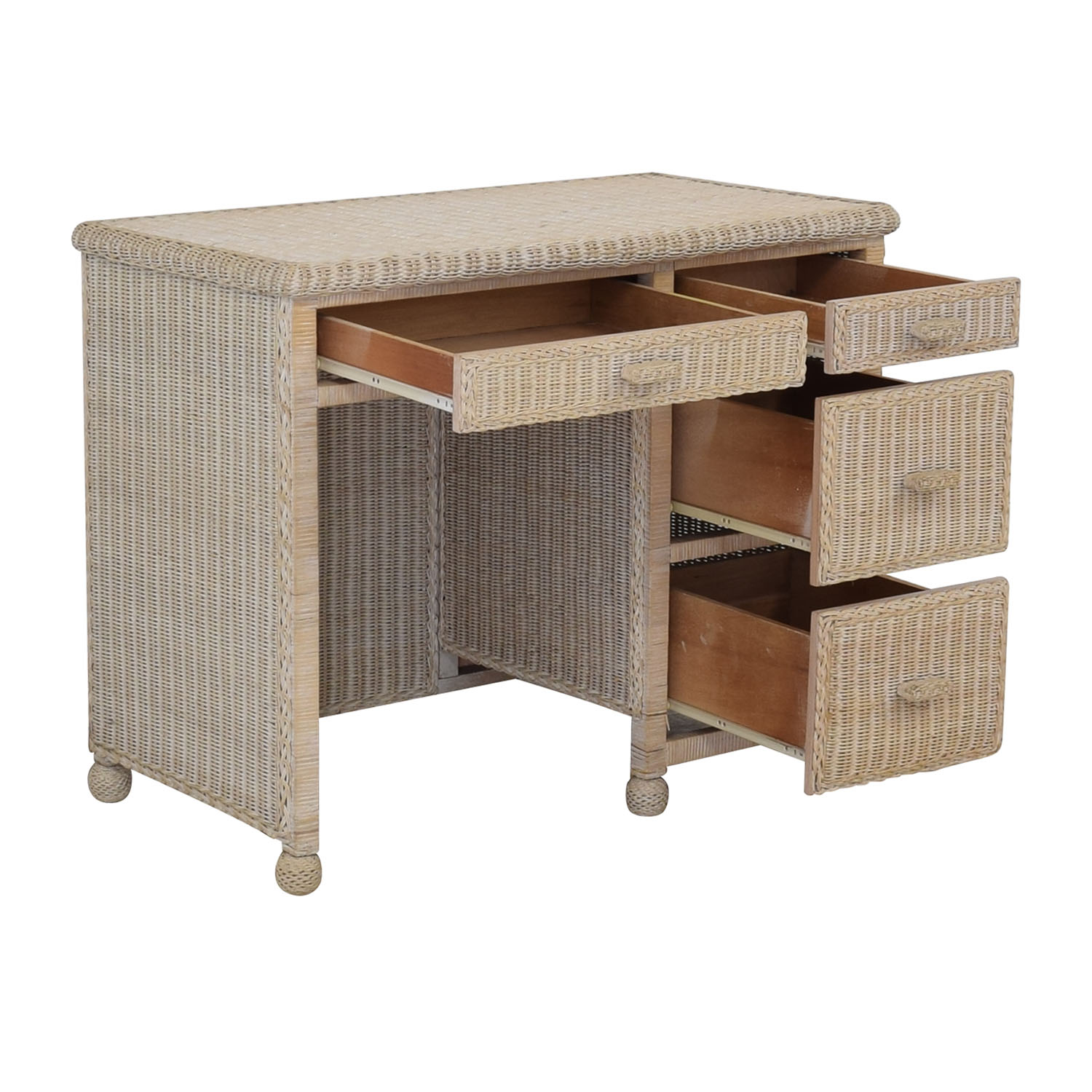 White Four-Drawer Wicker Desk white