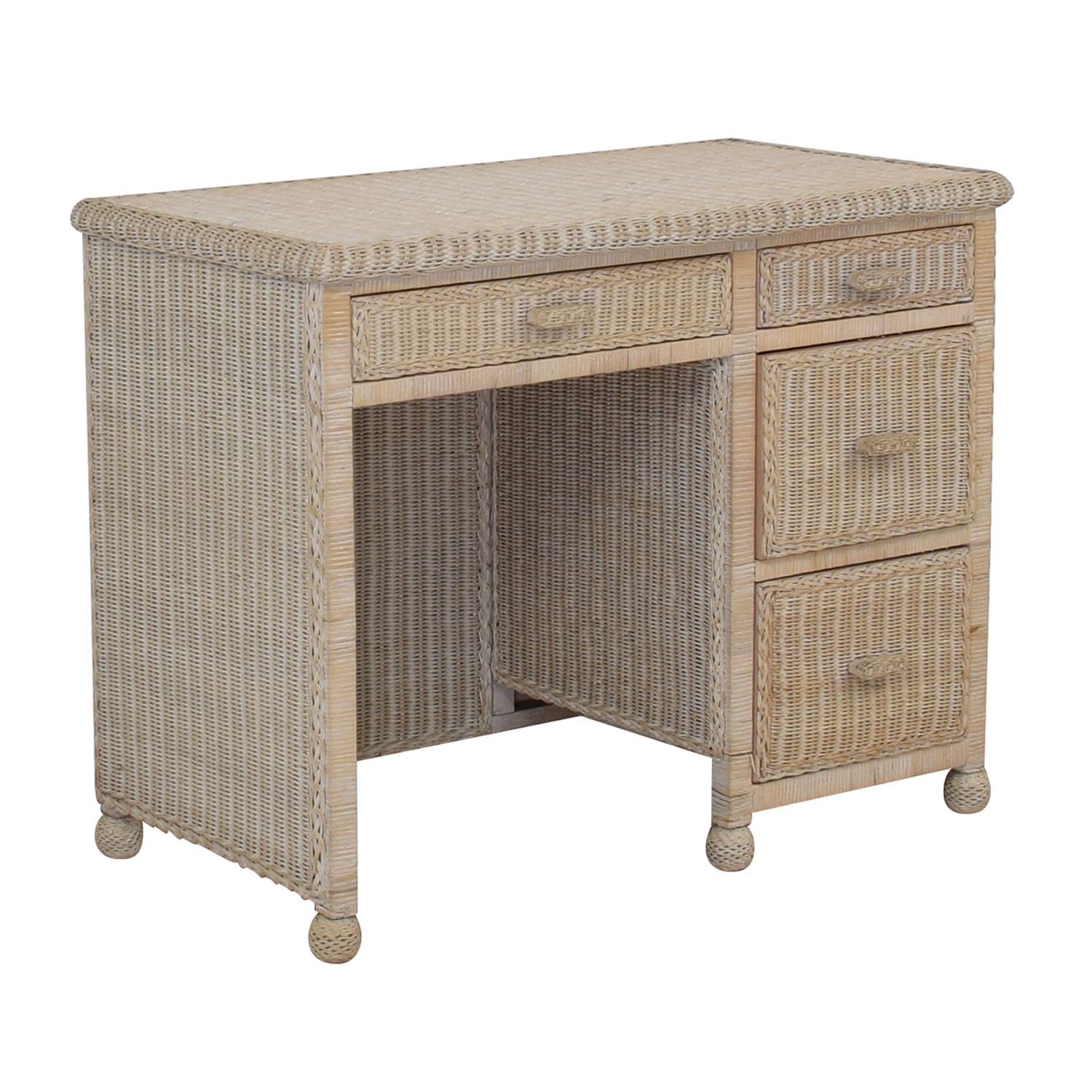 White Four-Drawer Wicker Desk discount