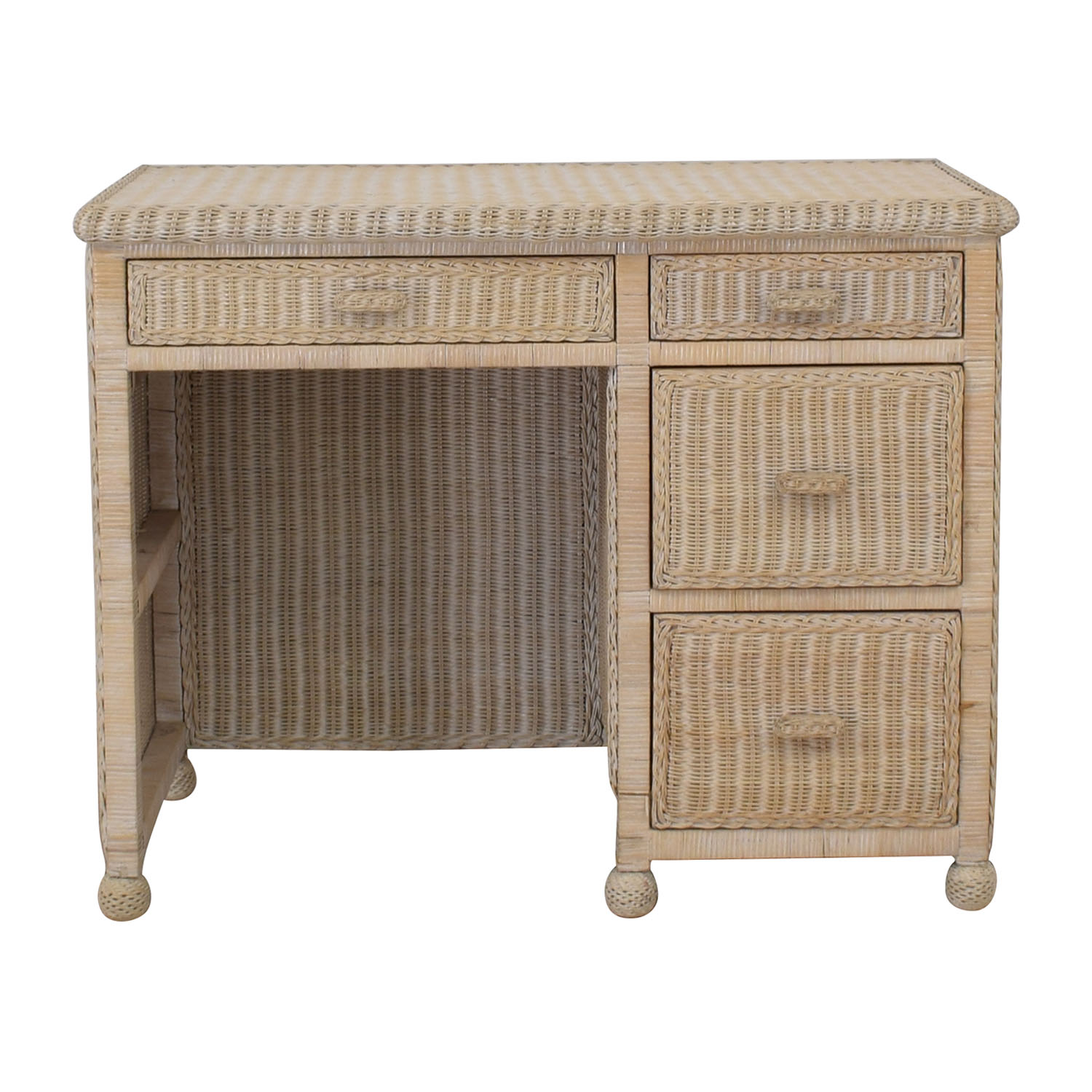 White Four-Drawer Wicker Desk