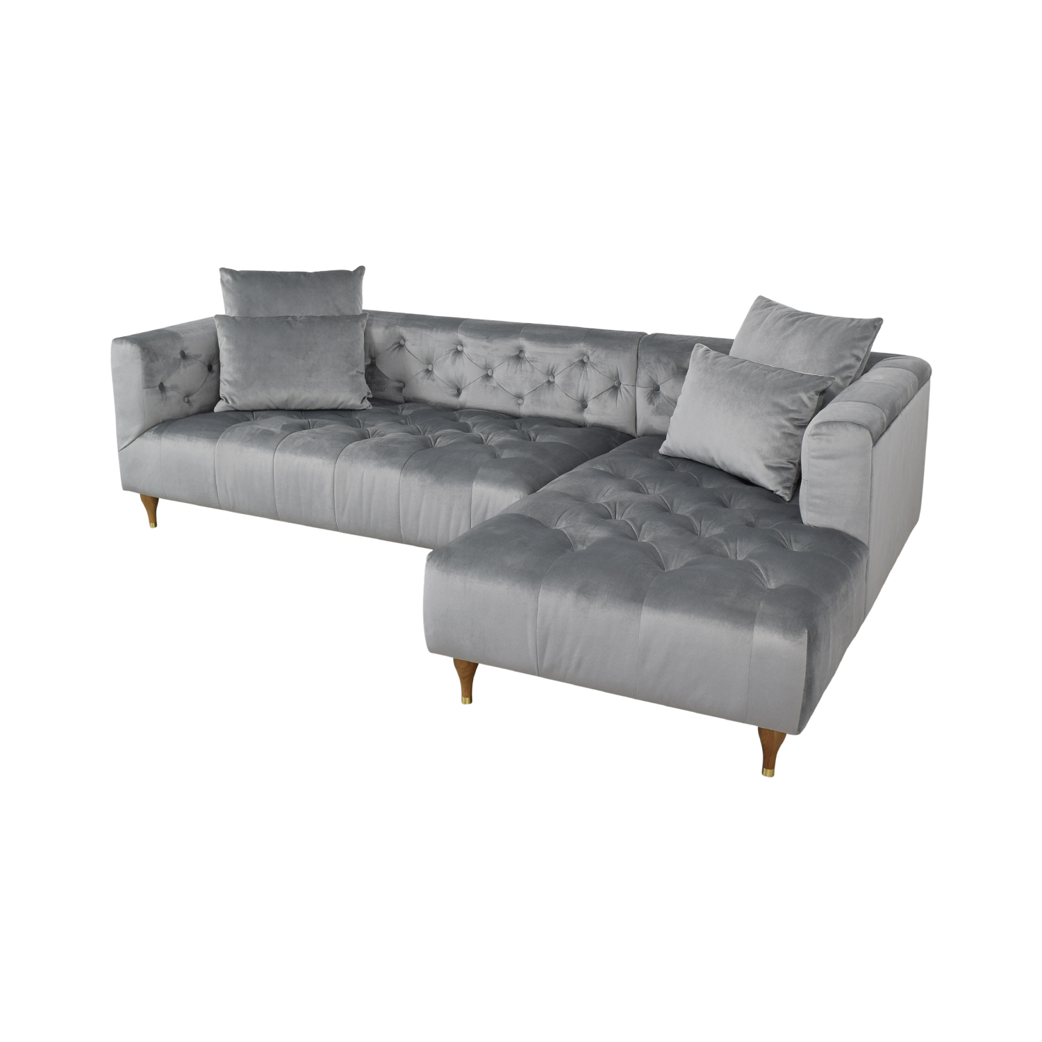 Interior Define Ms. Chesterfield Light Grey Tufted Right Chaise Sectional coupon