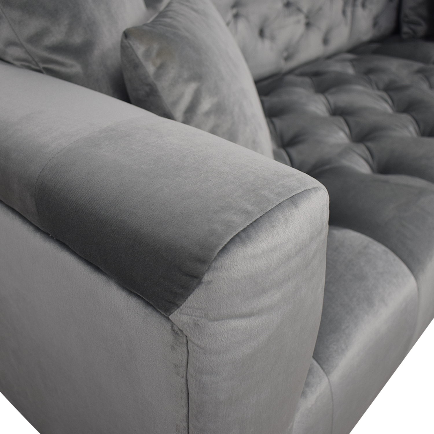 Ms. Chesterfield Light Grey Tufted Right Chaise Sectional sale
