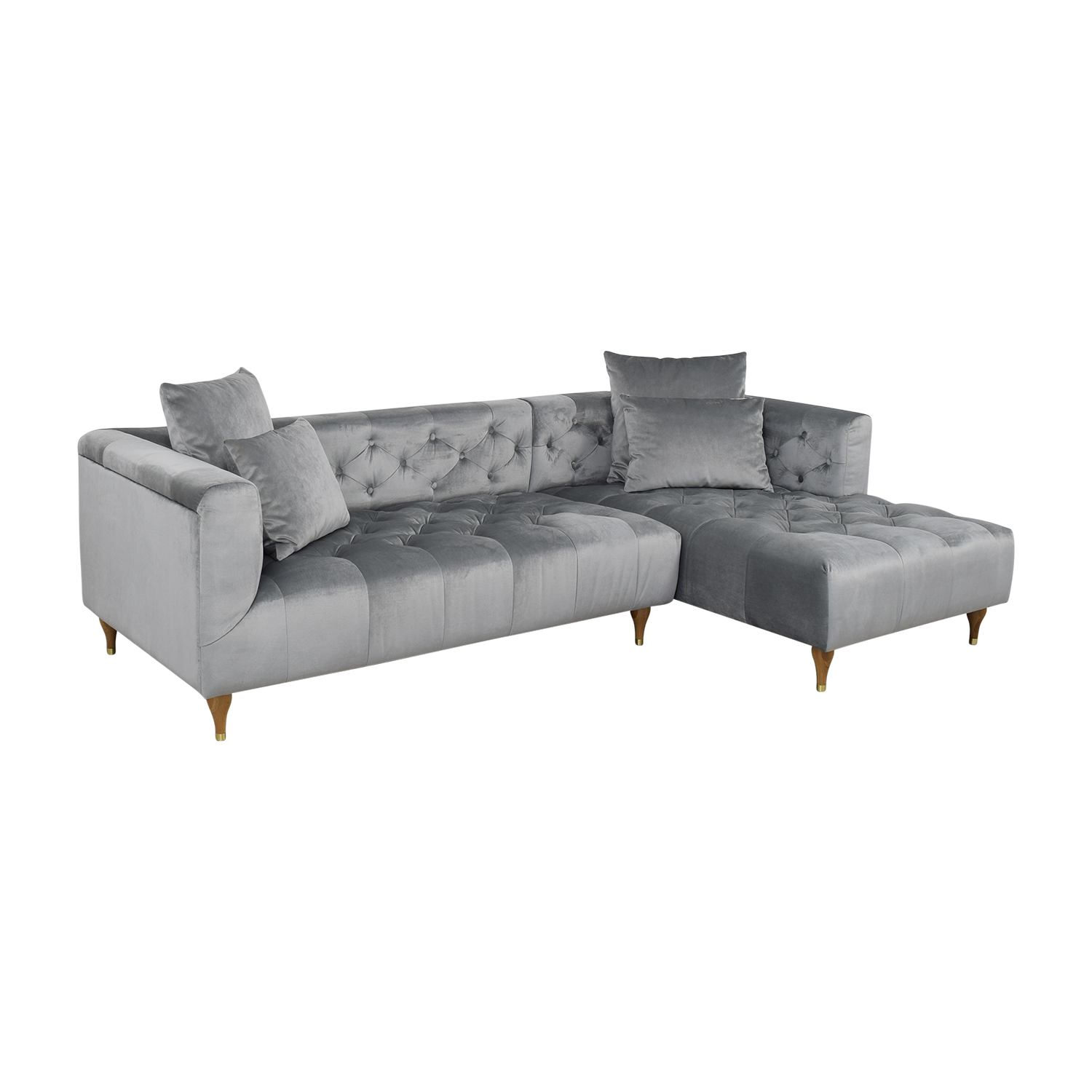 Interior Define Ms. Chesterfield Light Grey Tufted Right Chaise Sectional Sofas