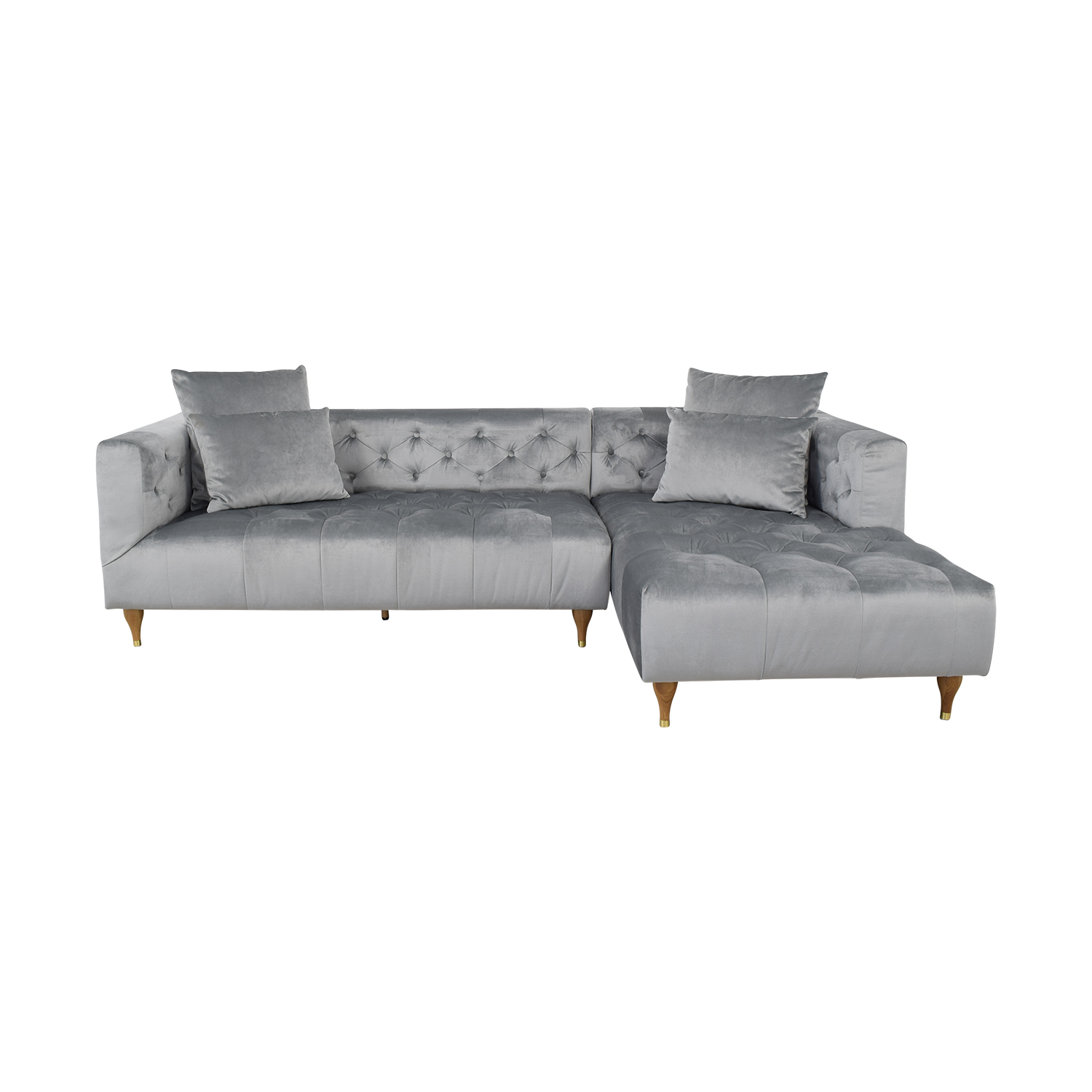 Interior Define Ms. Chesterfield Light Grey Tufted Right Chaise Sectional for sale