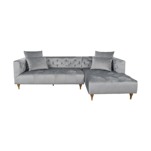Interior Define Ms. Chesterfield Light Grey Tufted Right Chaise Sectional price